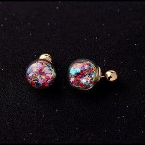 ⭐️Gold Ball Earrings w/multicolored stars⭐️